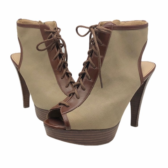 Marc Fisher Peep Toe Lace Up Ankle Booties